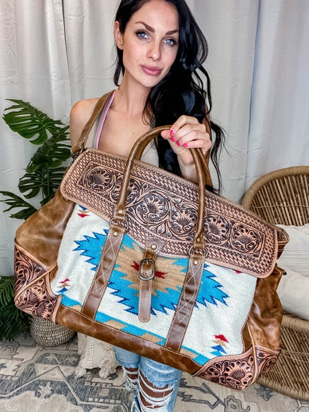 American Darling - Aztec Travel Bag w/Hand Carved Detail