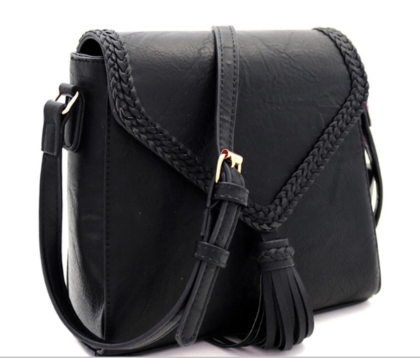 Bag Boutique - Tassel Accent Braided Flap Cross Body Shoulder Bag Faux Leather Zip Top Closure Magnetic Snap Closure Adjustable Shoulder Strap