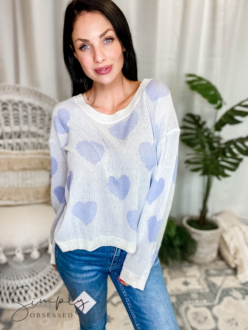 Pol - Lightweight Knit Heart Sweater With Scoop Neck Line
