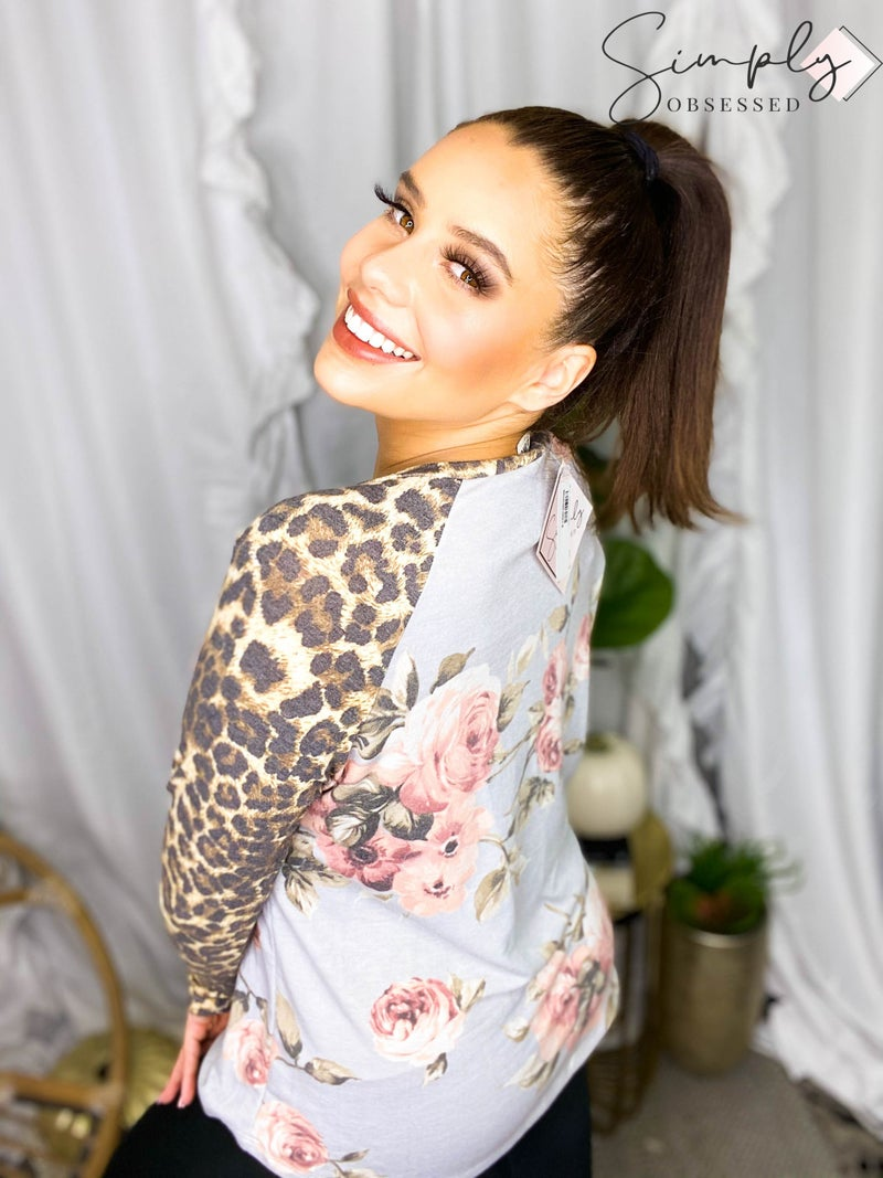 Sew In Love - Leopard Long Sleeve Floral Top (All Sizes)
