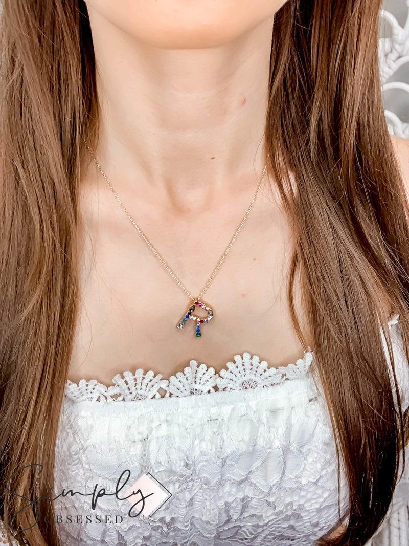 Urbanista - Pave Rhinestone Initial Necklace
