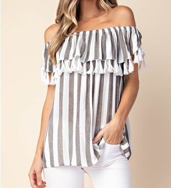 Off the shoulder  ruffle top with mini tassels hanging