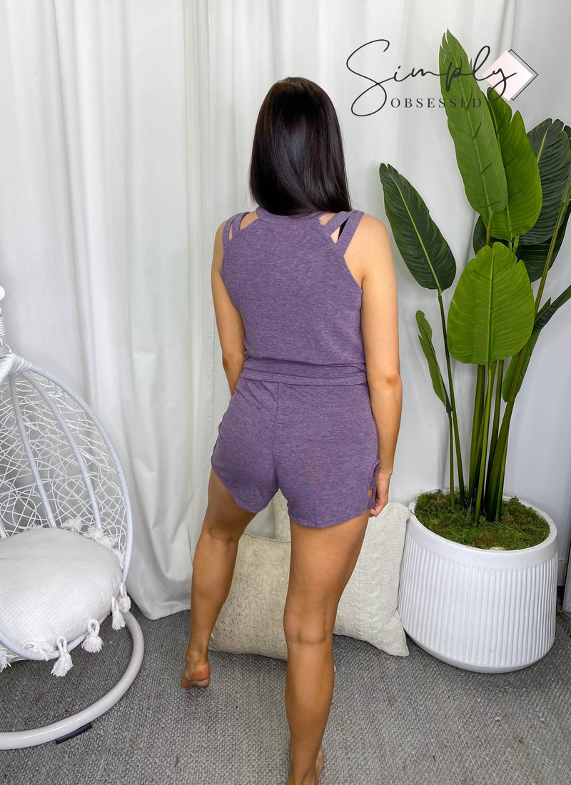 White Birch - Lounge wear shorts with cutout detail
