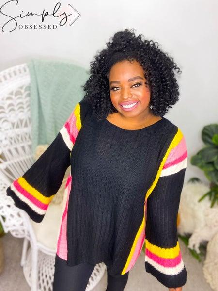 Macaron - Sweater w/ Side Slip and Multi Color Stripe