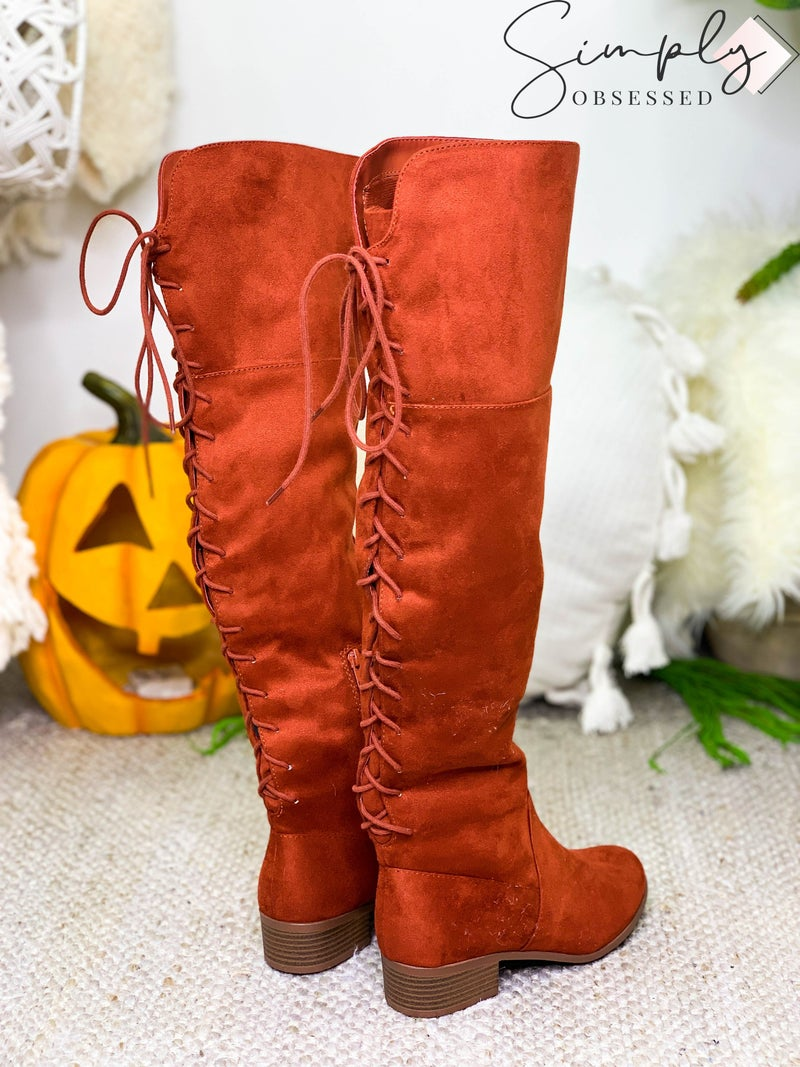 LET'S SEE STYLE-Back corset lace up strap knee high boots