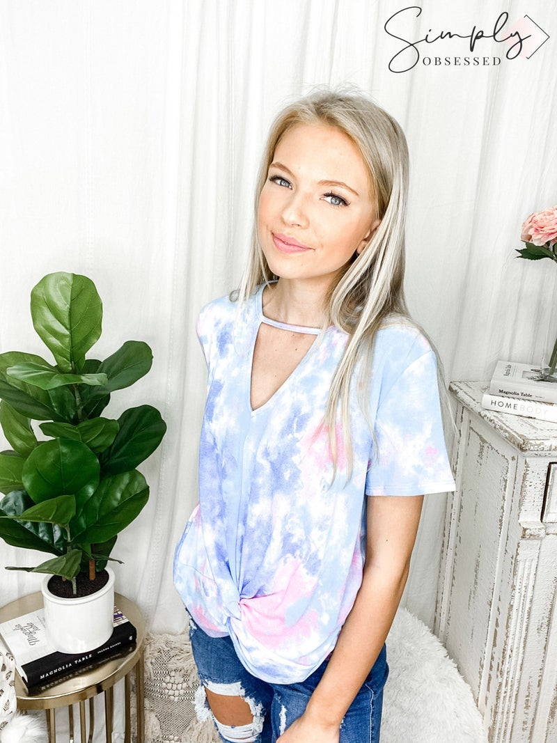 143 Story - Tie Dye Front Knotted Choker top