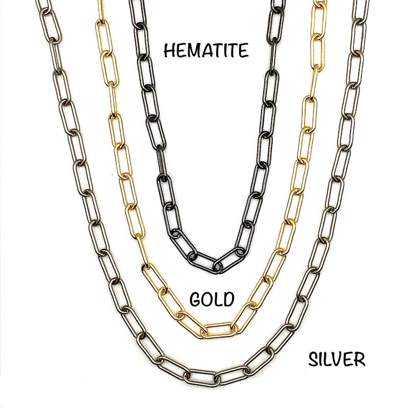 """OMG - 19"""" Rounded Matte Paper Clip Necklace"""