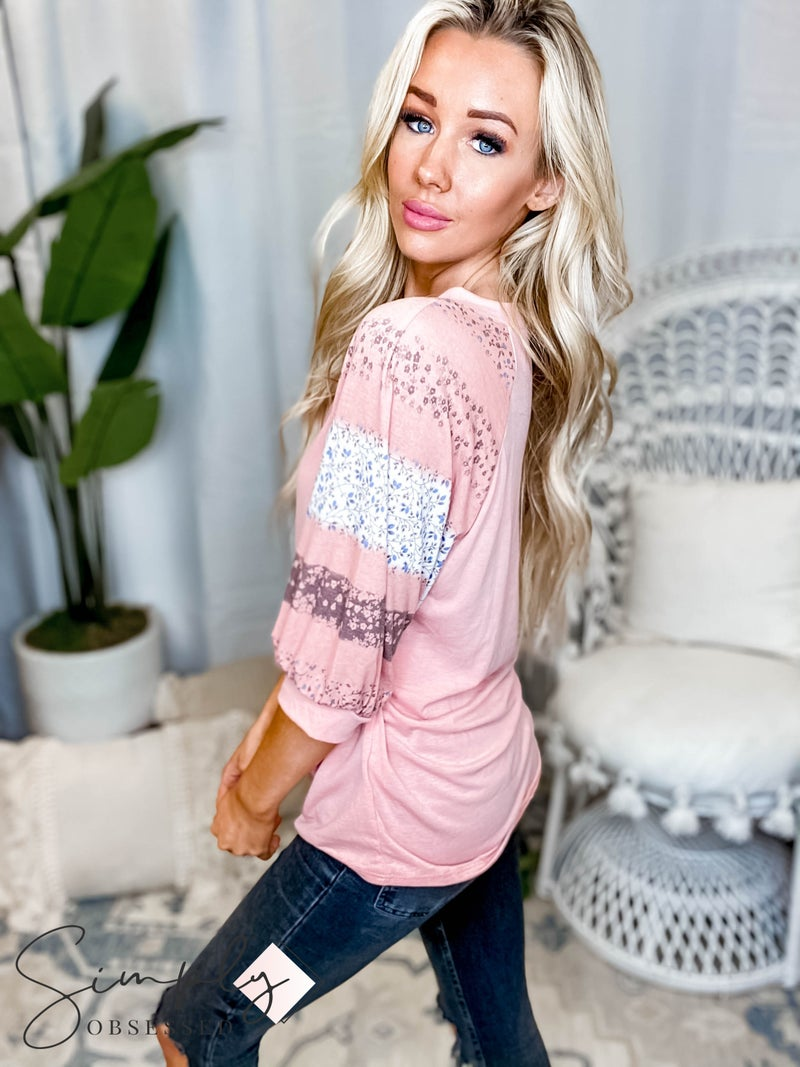 Emerald - Floral Ombre Contrast Dropped Shoulder Dolman Sleeves Casual Top