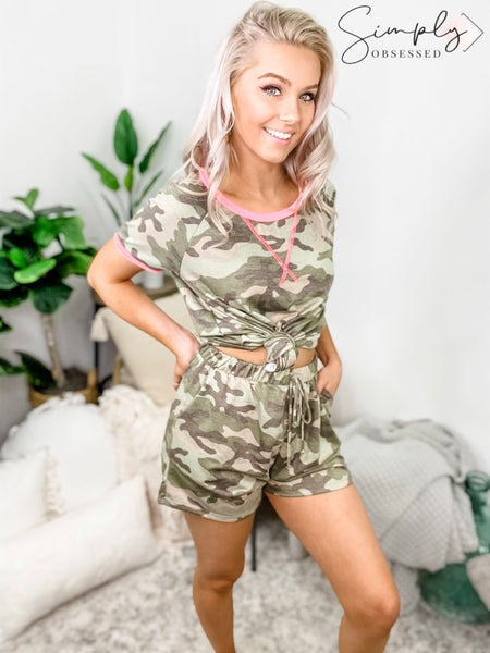 SEW IN LOVE-Comfy Camo Shorts With Fake Ties