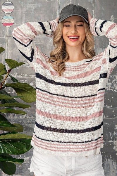 EE:Some - Striped Purl Sweater