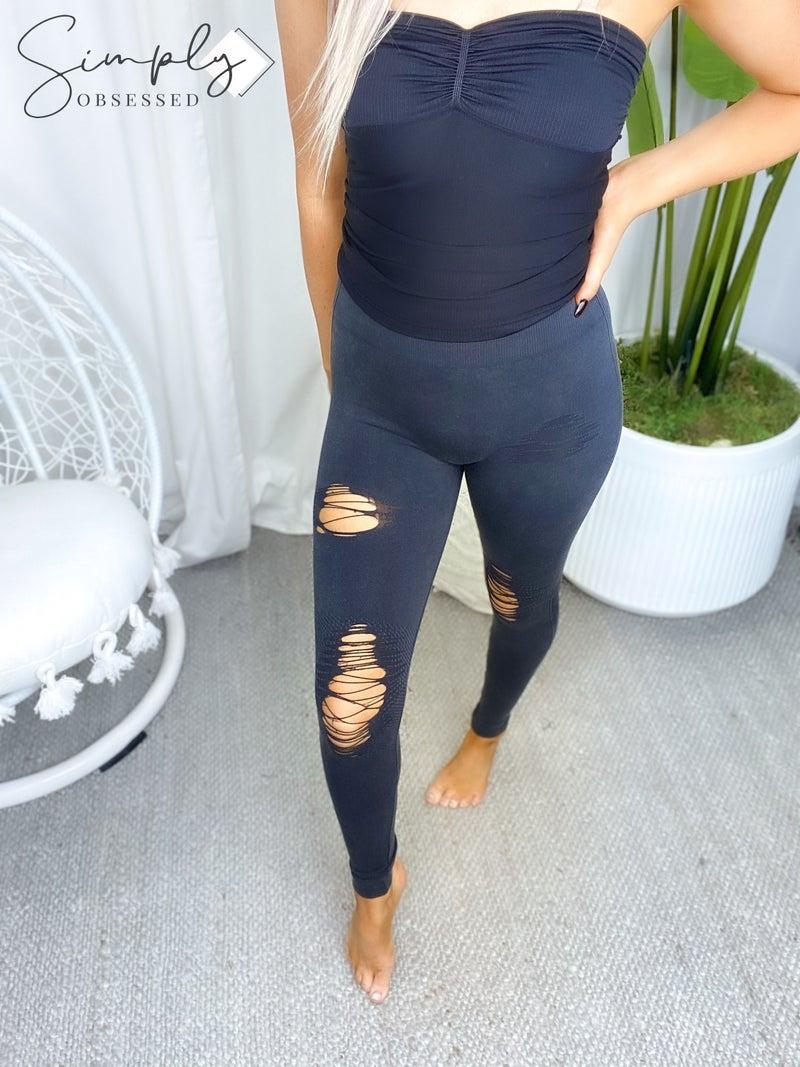 Yelete - Distressed vintage washed leggings