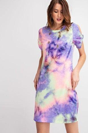 RAE MODE-Tie Dye Open Sleeve Short Dress