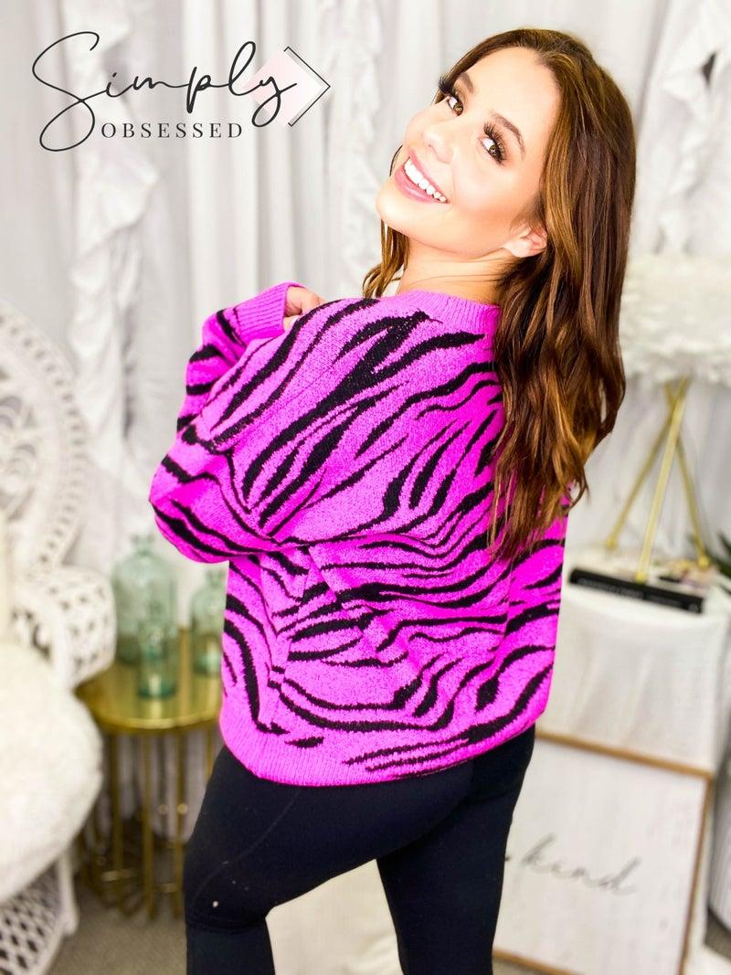 Eesome - Long sleeve zebra print soft sweater
