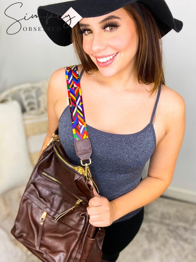 Julia Rose - Gray leopard/Brown convertible handbag