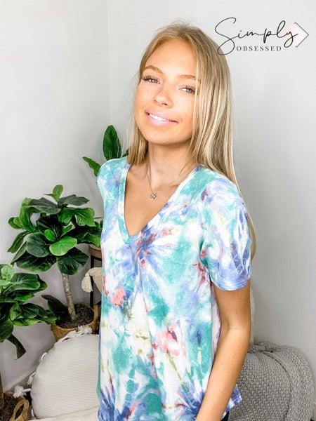 Bibi - Tie dye print terry v neck top