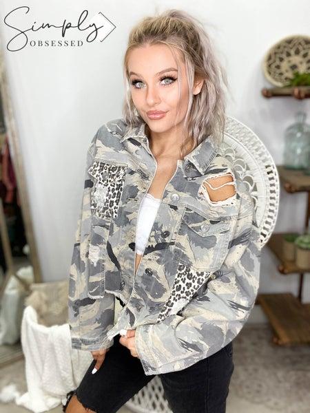 POL CLOTHING INC - Camo Jacket With Cheetah Pocket Detail