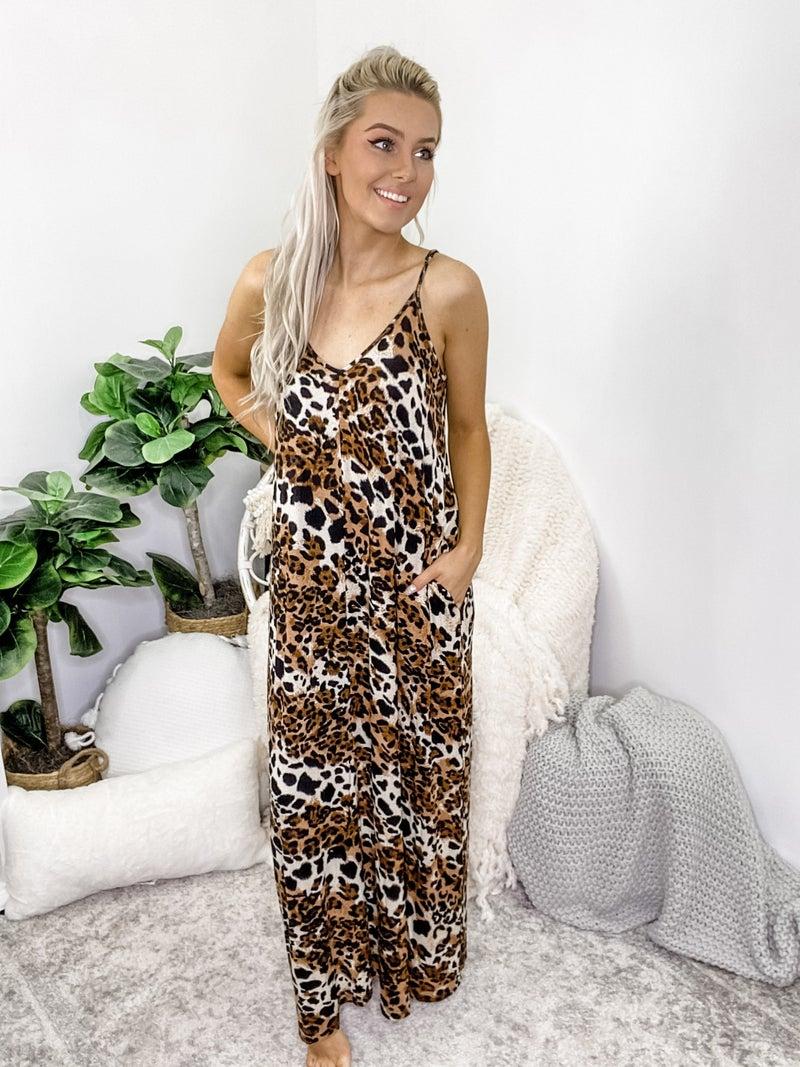 ZENANA-LEOPARD PRINT CAMI MAXI DRESS WITH POCKET