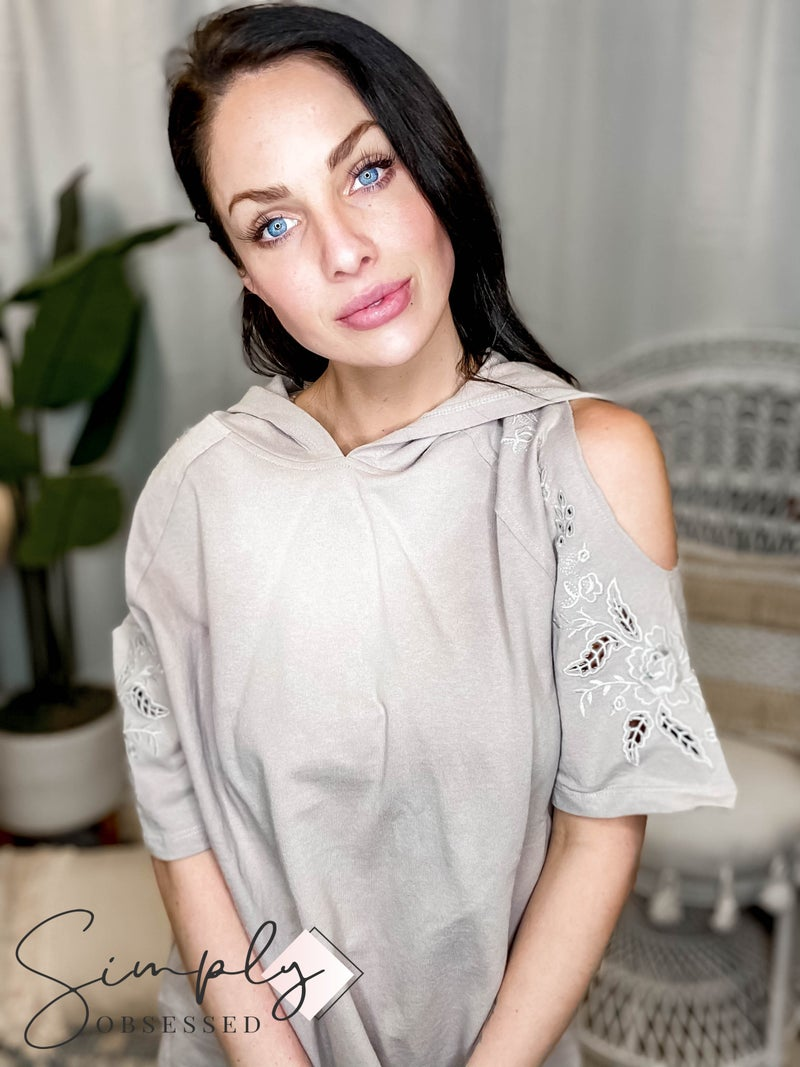 Easel - Cold shoulder embroidered top with hoodie