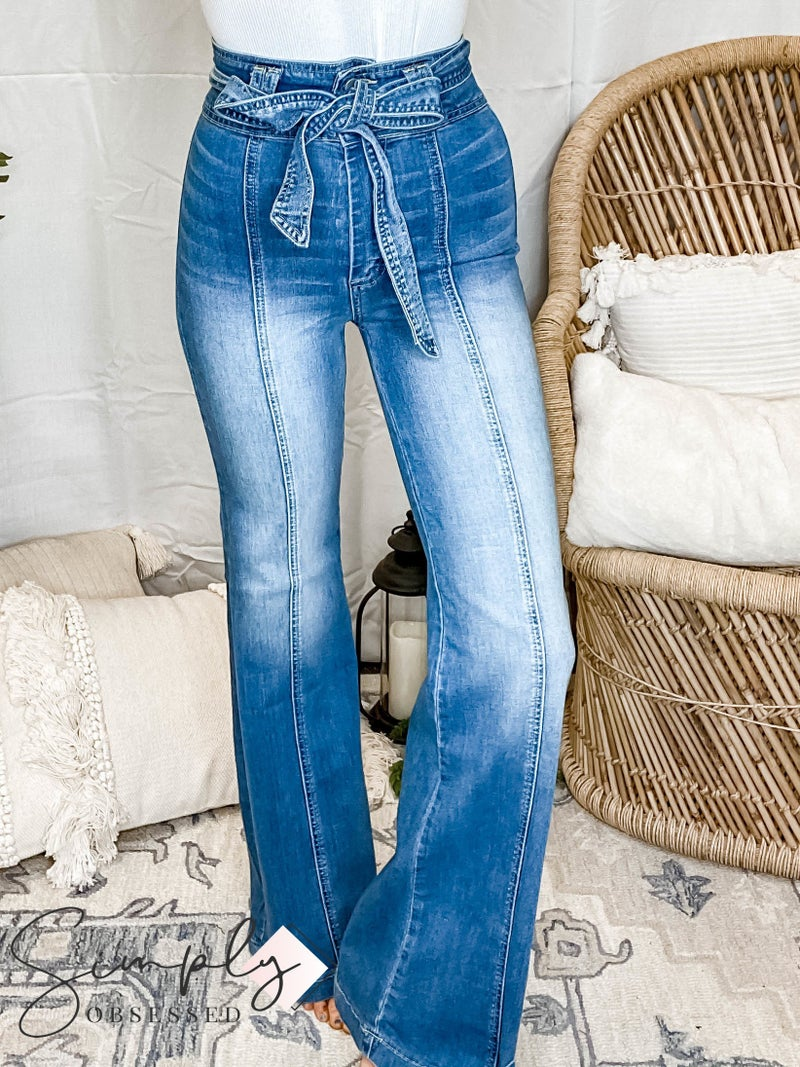 Flying Tomato - A light washed denim with high waist with self sash tie and bell bottom Inseam 32'' Rise 12''