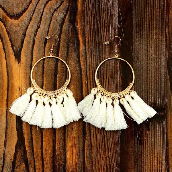 White & Gold Boho Tassel Earrings