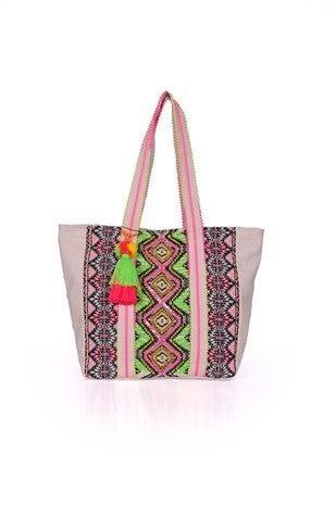 America & Beyond - Endive aztec embellished tote