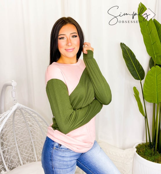 White Birch - Long sleeve color block knit top