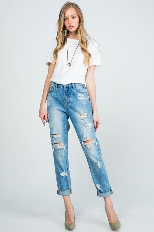 Special A - High rise boyfriend jeans with double fold hem