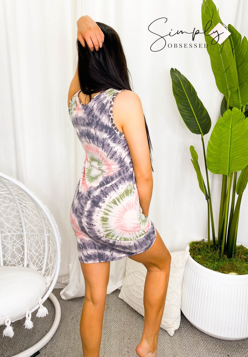 Vanilla Bay - Sleeveless tie dye knit dress with sequin detail