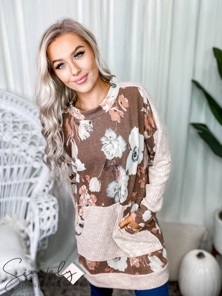 White Birch - Long Sleeve Floral Print Knit Sweater Dress