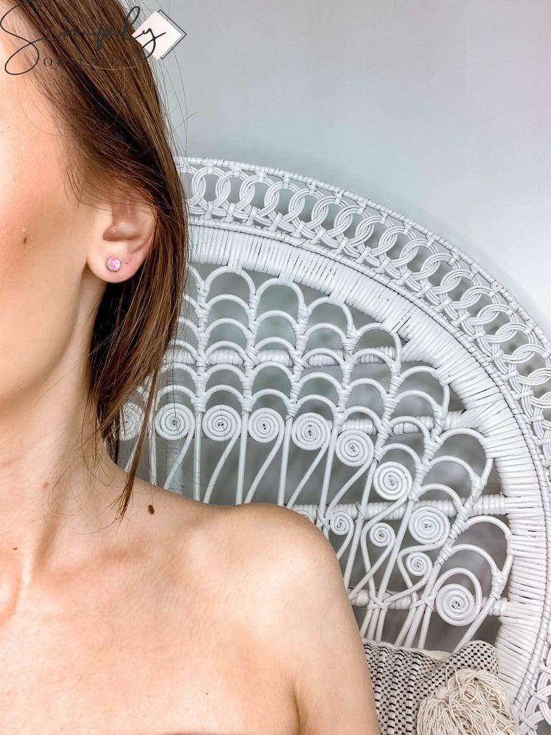 M & S - Hot Pink Opal Stud Earrings