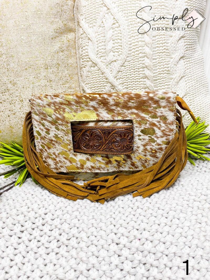 Acid wash tassel detail hand crafted leather work bag