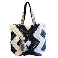Chloe & Lex - Black & White Zig Tote Bag