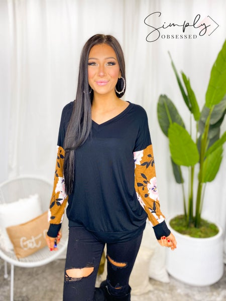 SEW IN LOVE-LOVE SLEEVE V NECK TOP WITH FLORAL DESIGN