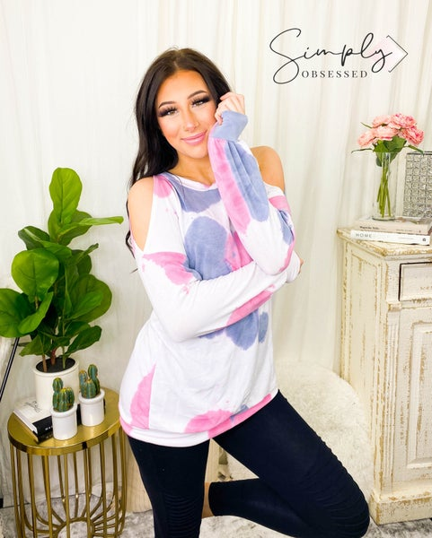 First Love - Long sleeve tie dye top with cold shoulders