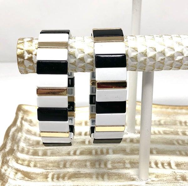 Black and White Stretch Bracelet