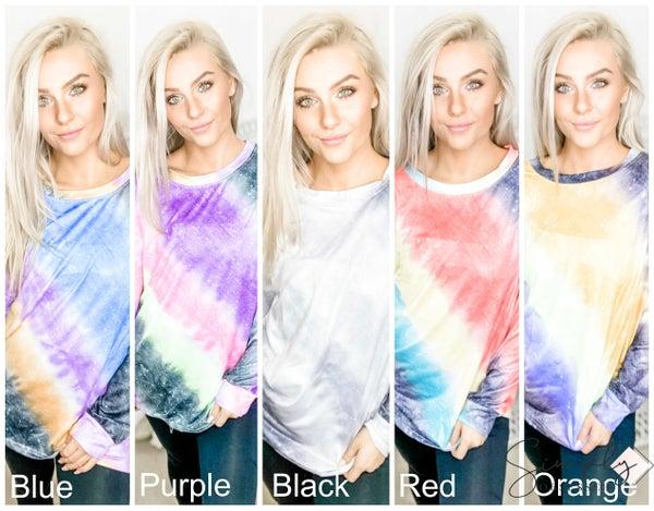 TRACIES-Tie Dye Colorblock Top