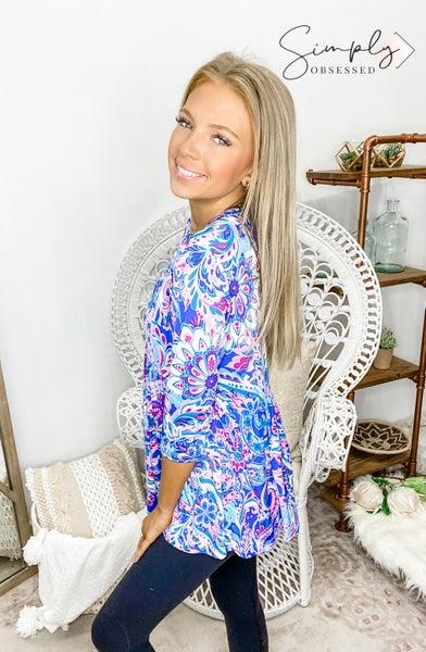 Sew In Love - Floral design tunic top(plus)