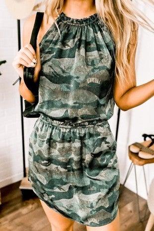 Mazik - Sleeveless waist elastic camo midi dress