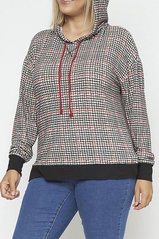 Rousseau - Contrast Band Plaid Hoodie Sweater (Plus Size)