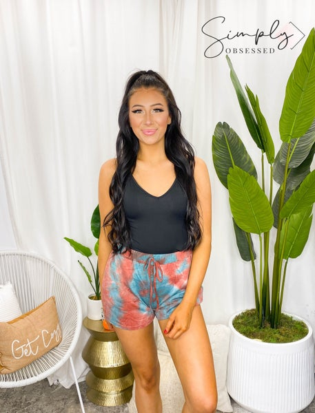 MAIN STRIP-Waist Elastic Pocket Tie-dye French Terry Shorts
