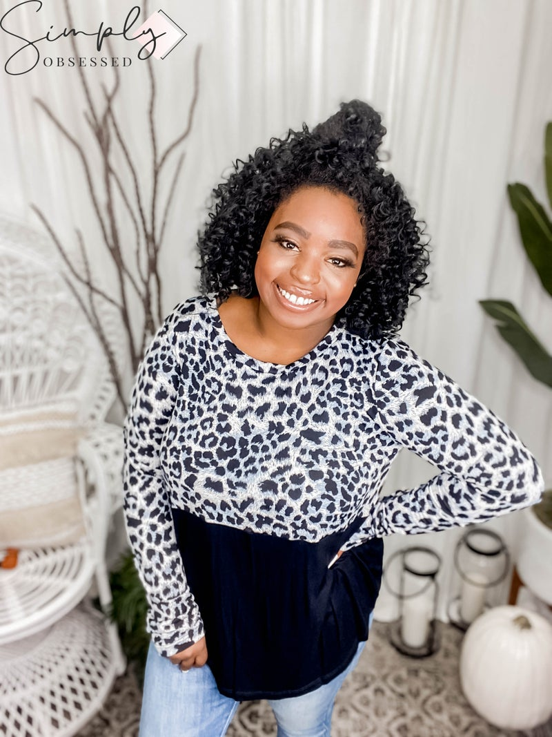 Sew In Love - Leopard Blocked Long Sleeve Round Neck Top