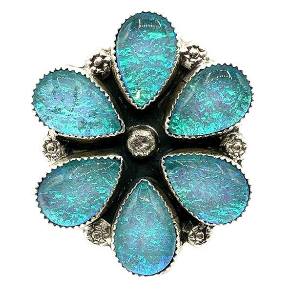 M&S - Iridized Opal Flower Ring