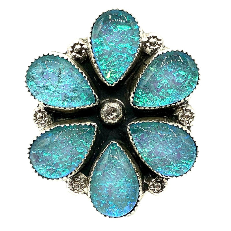 M&S - Iridized Opal Flower Ring