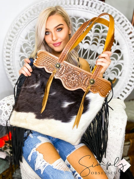 American Darling - Hand crafted leather work tassel detail cross body bag