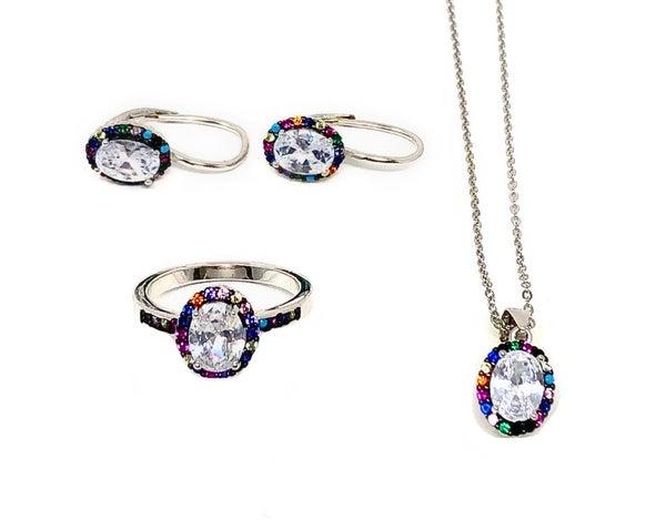 Halo Cut w/ colorful CZ Rim Jewelry Set