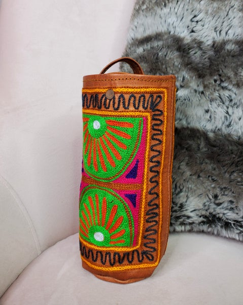 Tamra - Rajasthani embroidered leather bottle carrier