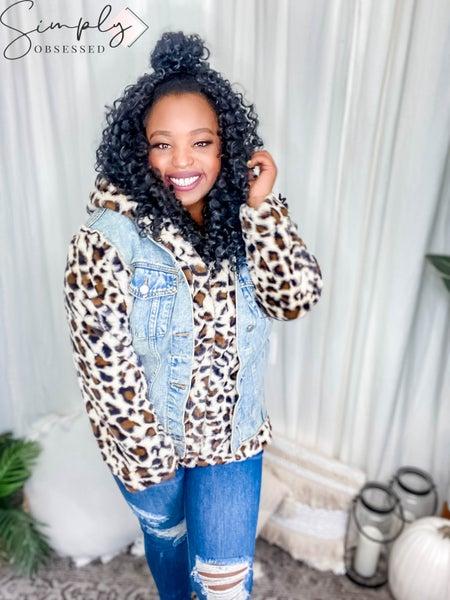 12PM By Mon Ami - Leopard fur denim jacket