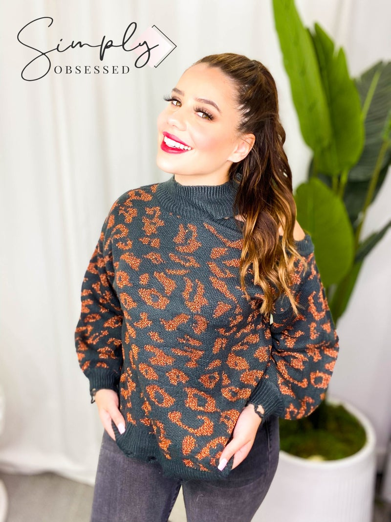 American Fit - Leopard print distressed high neck sweater with cold shoulder