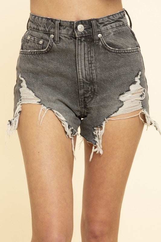 BLUE BUTTERCUP-Frayed Denim Shorts