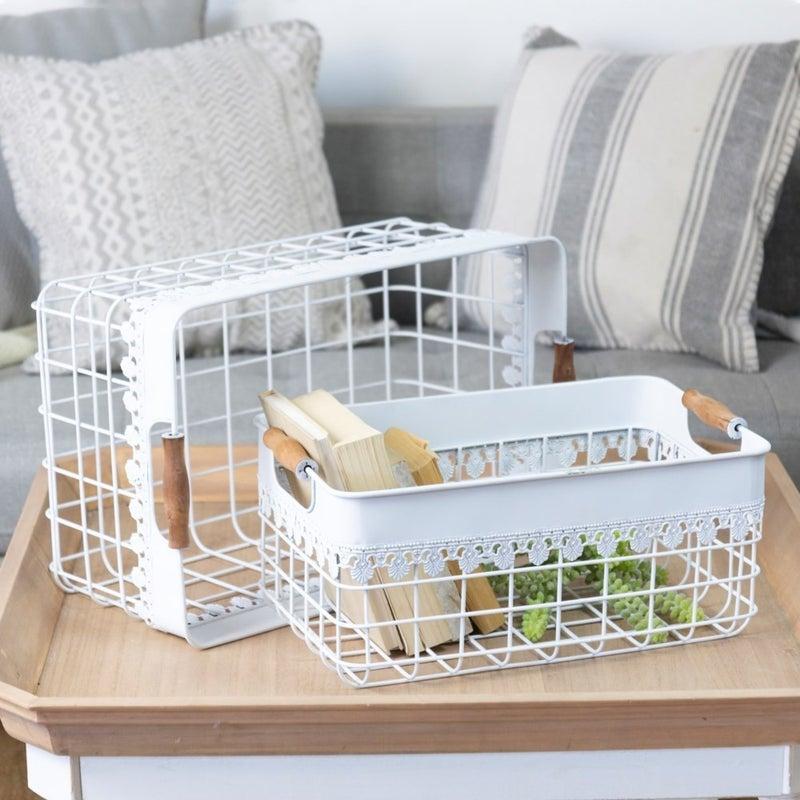VIP ATL - Wood Handles Wire Grid Basket